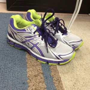 Asics purple and green sneakers size 9.5